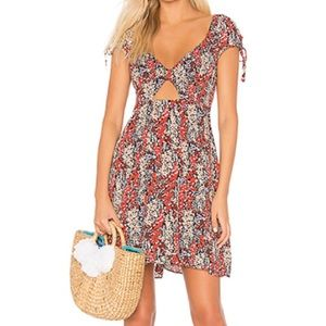 NWT Free People Red Black Floral Dress